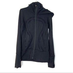 Lululemon athletica black zip hoodie ruffle logo